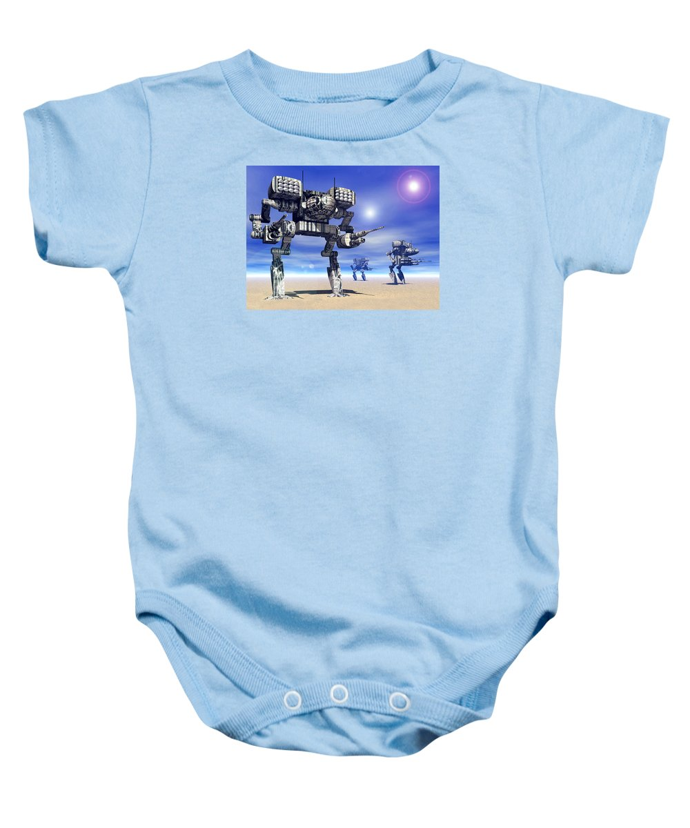 Science Fiction Baby Onesie featuring the digital art 501st Mech Trinary by Curtiss Shaffer
