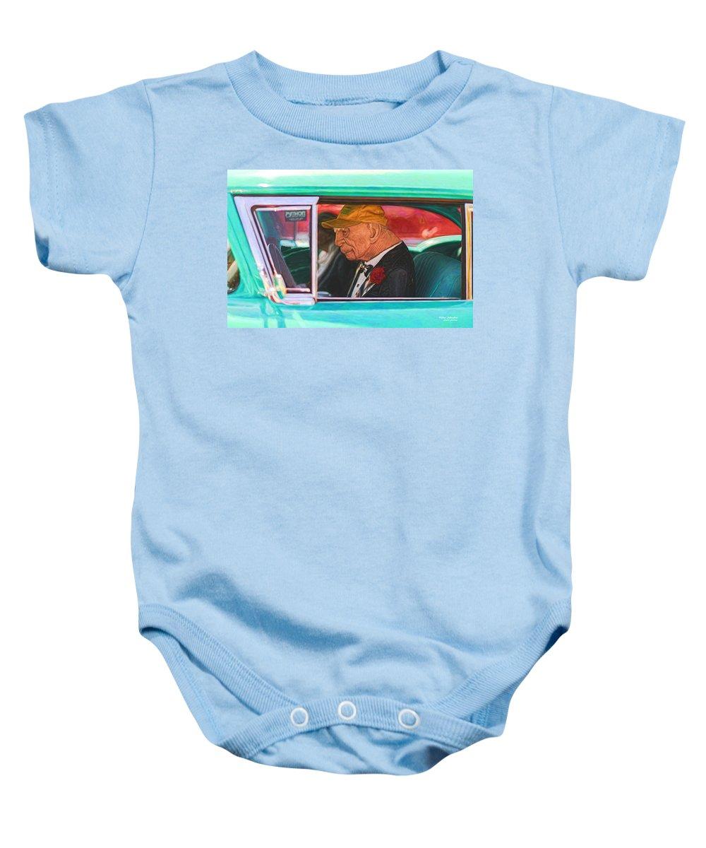 Chevy Baby Onesie featuring the digital art 57 Chevy Man by Mike Scheufler