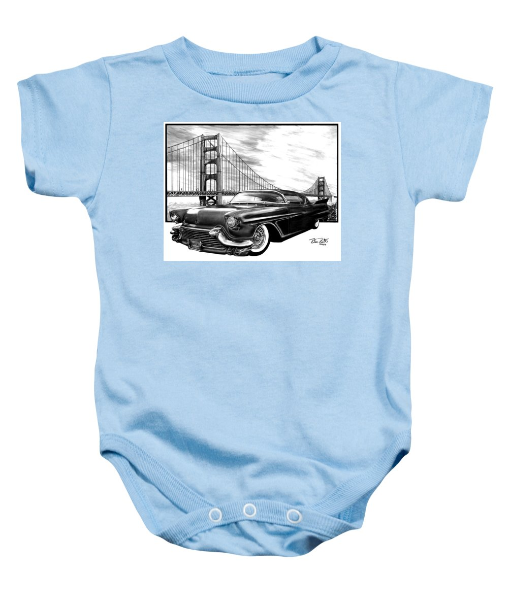 57 Fat Cad Baby Onesie featuring the drawing 57 Fat Cad by Peter Piatt