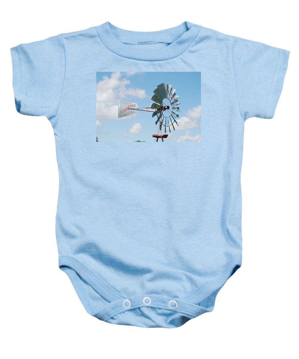 Blue Baby Onesie featuring the photograph Aermotor Windmill by Rob Hans