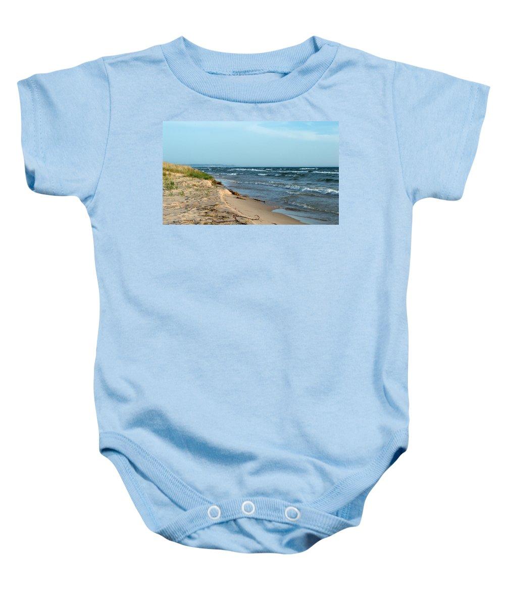 Michigan Baby Onesie featuring the photograph Water's Edge by Linda Kerkau