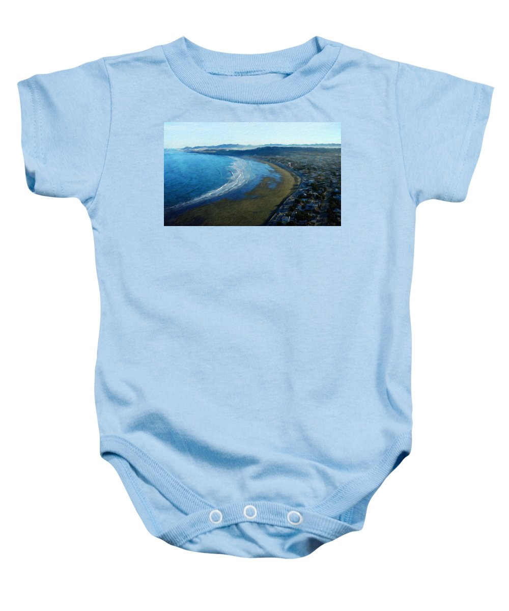 Landscape Baby Onesie featuring the painting Landscape On Nature by World Map