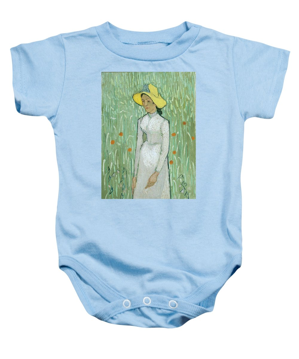 Girl In White Baby Onesie featuring the painting Girl In White by Vincent Van Gogh