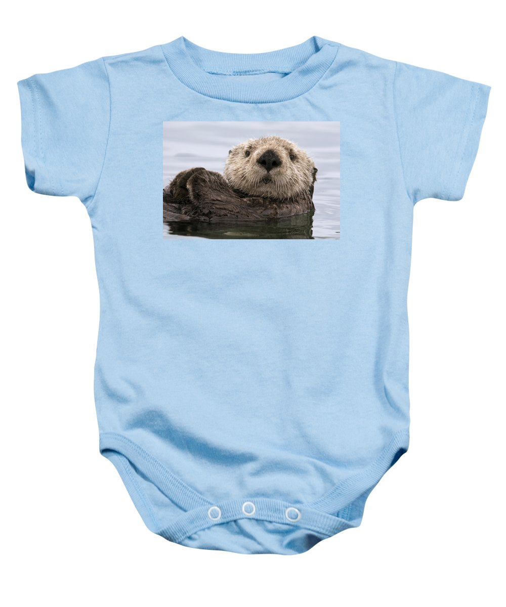 00429873 Baby Onesie featuring the photograph Sea Otter Elkhorn Slough Monterey Bay by Sebastian Kennerknecht