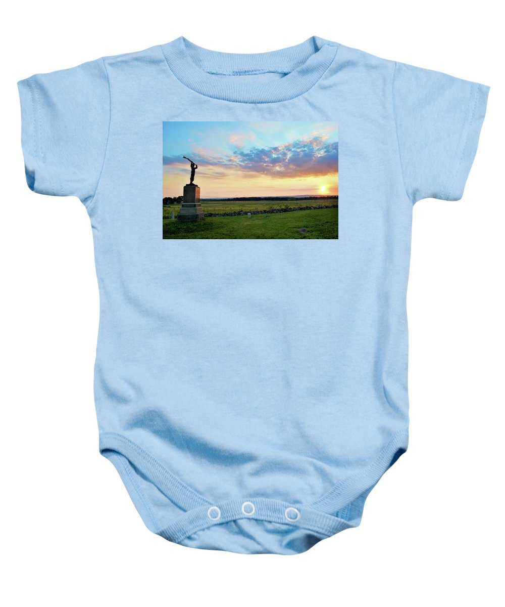 Civil War Baby Onesie featuring the photograph 72nd Pennsylvania At The Angle by Jen Goellnitz