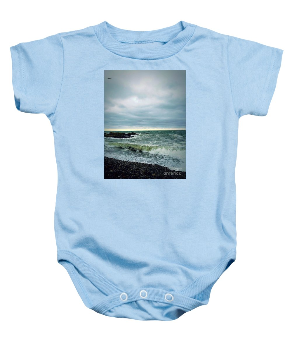 Waves Baby Onesie featuring the photograph 7th Wave by Jennifer Talbot