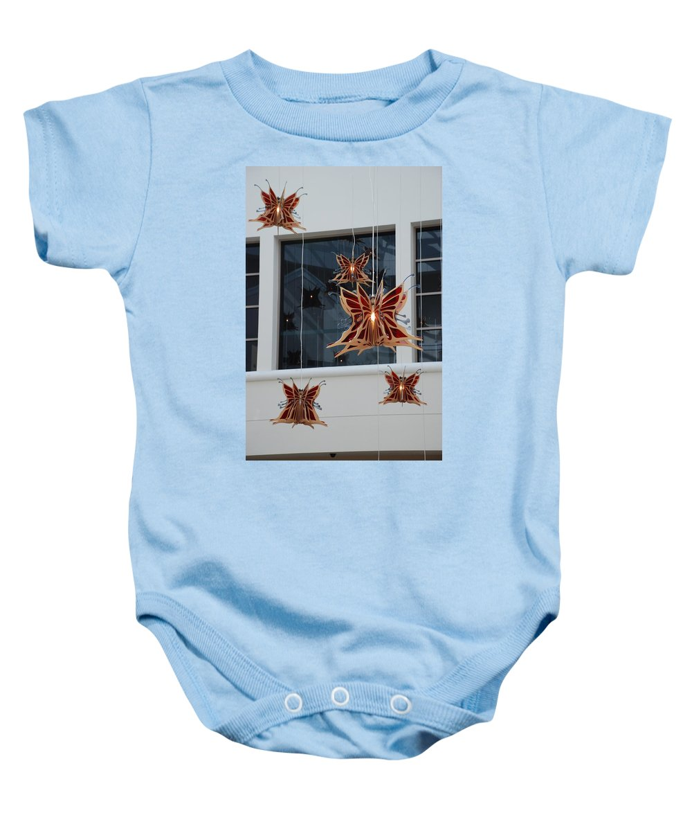 Architecture Baby Onesie featuring the photograph Hanging Butterflies by Rob Hans