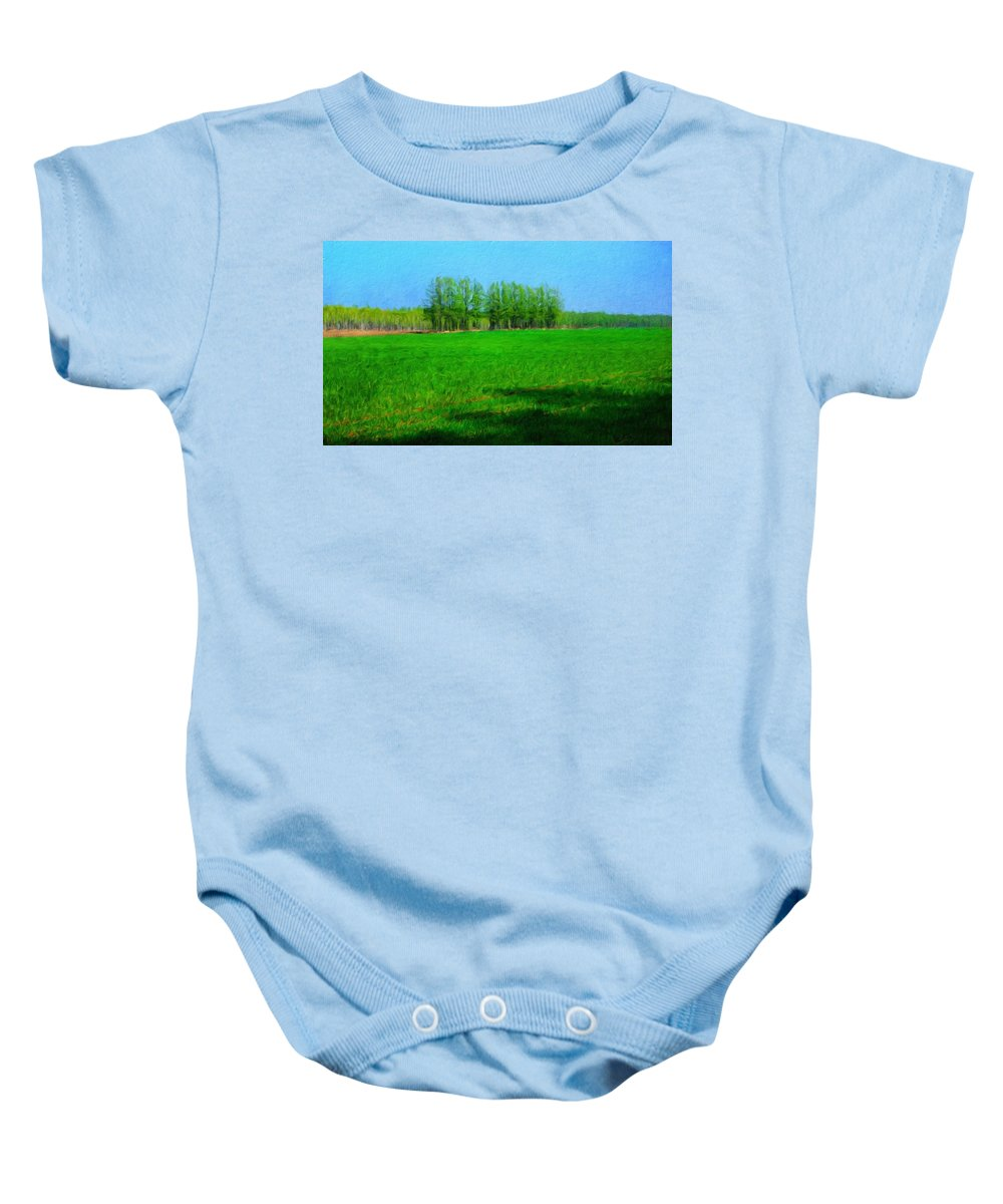 Landscape Baby Onesie featuring the painting Nature Oil Painting Landscape by World Map