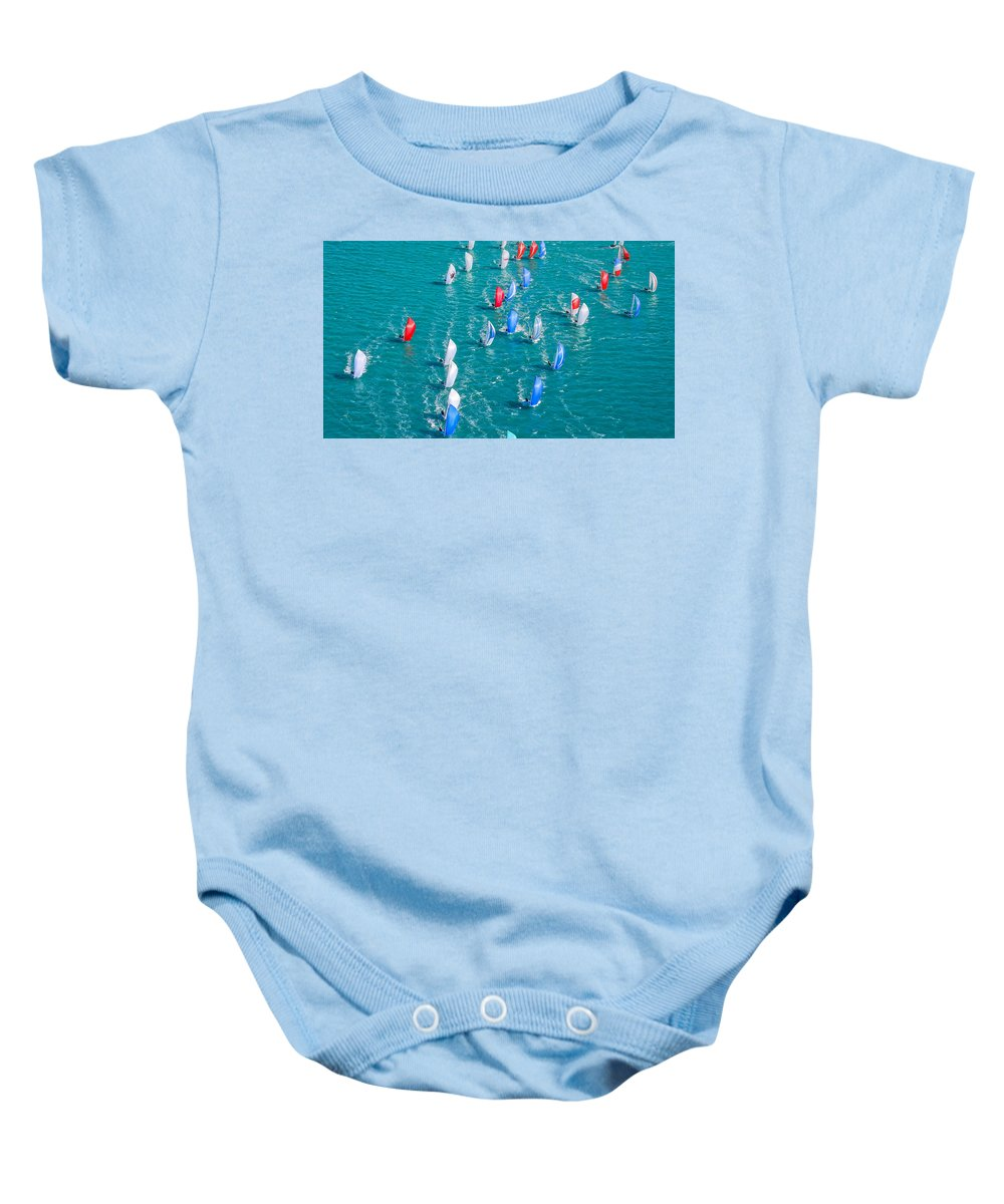 Sail Baby Onesie featuring the photograph On High by Steven Lapkin