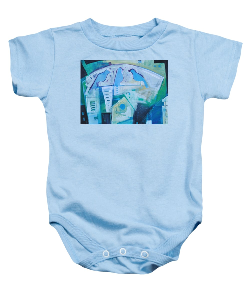 Birds Baby Onesie featuring the painting A Birds Life by Tim Nyberg