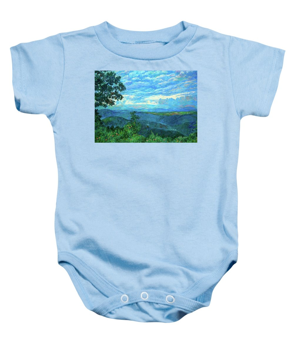 Mountains Baby Onesie featuring the painting A Break In The Clouds by Kendall Kessler