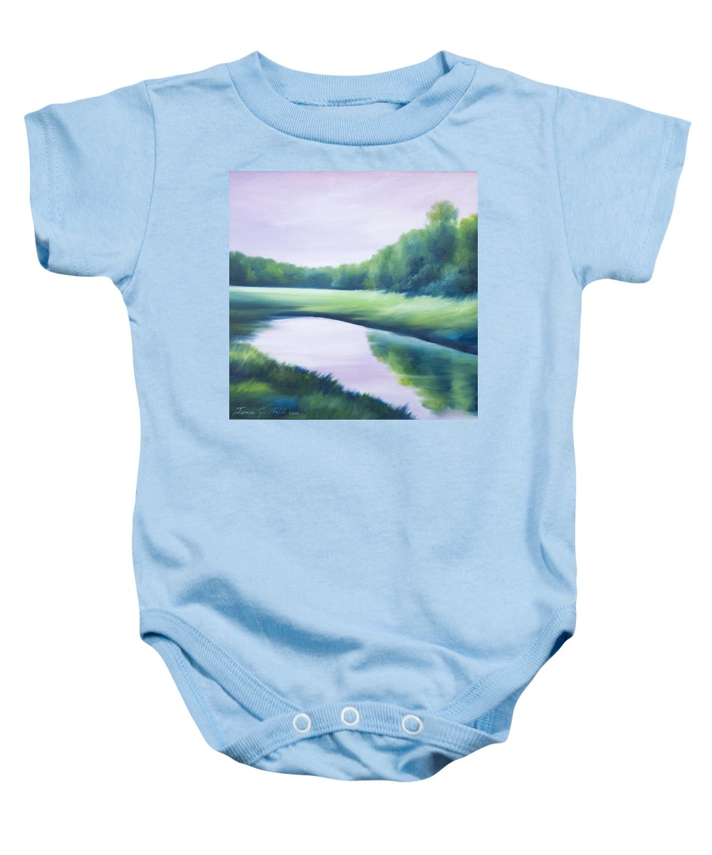 Nature; Lake; Sunset; Sunrise; Serene; Forest; Trees; Water; Ripples; Clearing; Lagoon; James Christopher Hill; Jameshillgallery.com; Foliage; Sky; Realism; Oils; Green; Tree; Blue; Pink; Pond; Lake Baby Onesie featuring the painting A Day In The Life 1 by James Christopher Hill