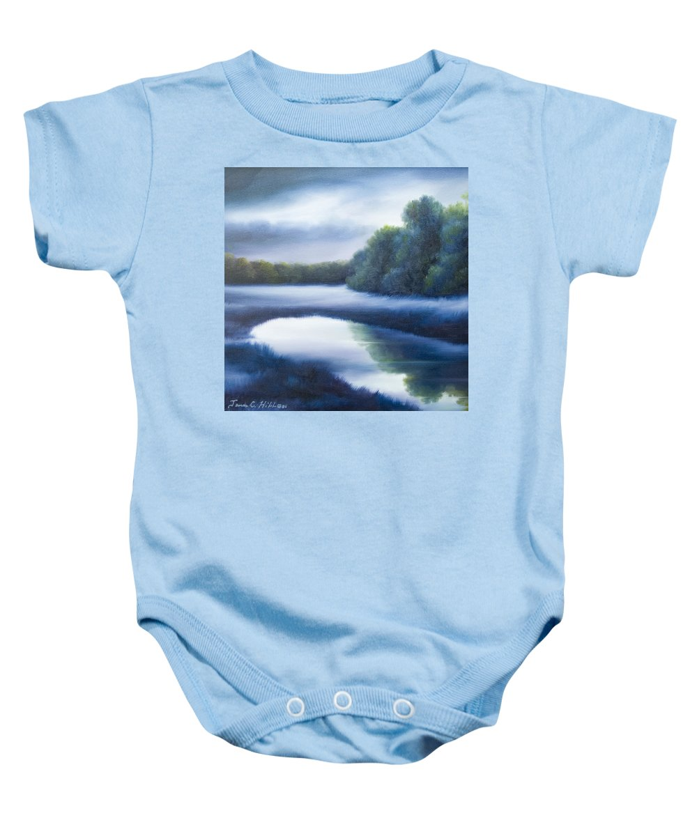 Nature; Lake; Sunset; Sunrise; Serene; Forest; Trees; Water; Ripples; Clearing; Lagoon; James Christopher Hill; Jameshillgallery.com; Foliage; Sky; Realism; Oils; Green; Tree; Blue; Pink; Pond; Lake Baby Onesie featuring the painting A Day In The Life 4 by James Christopher Hill