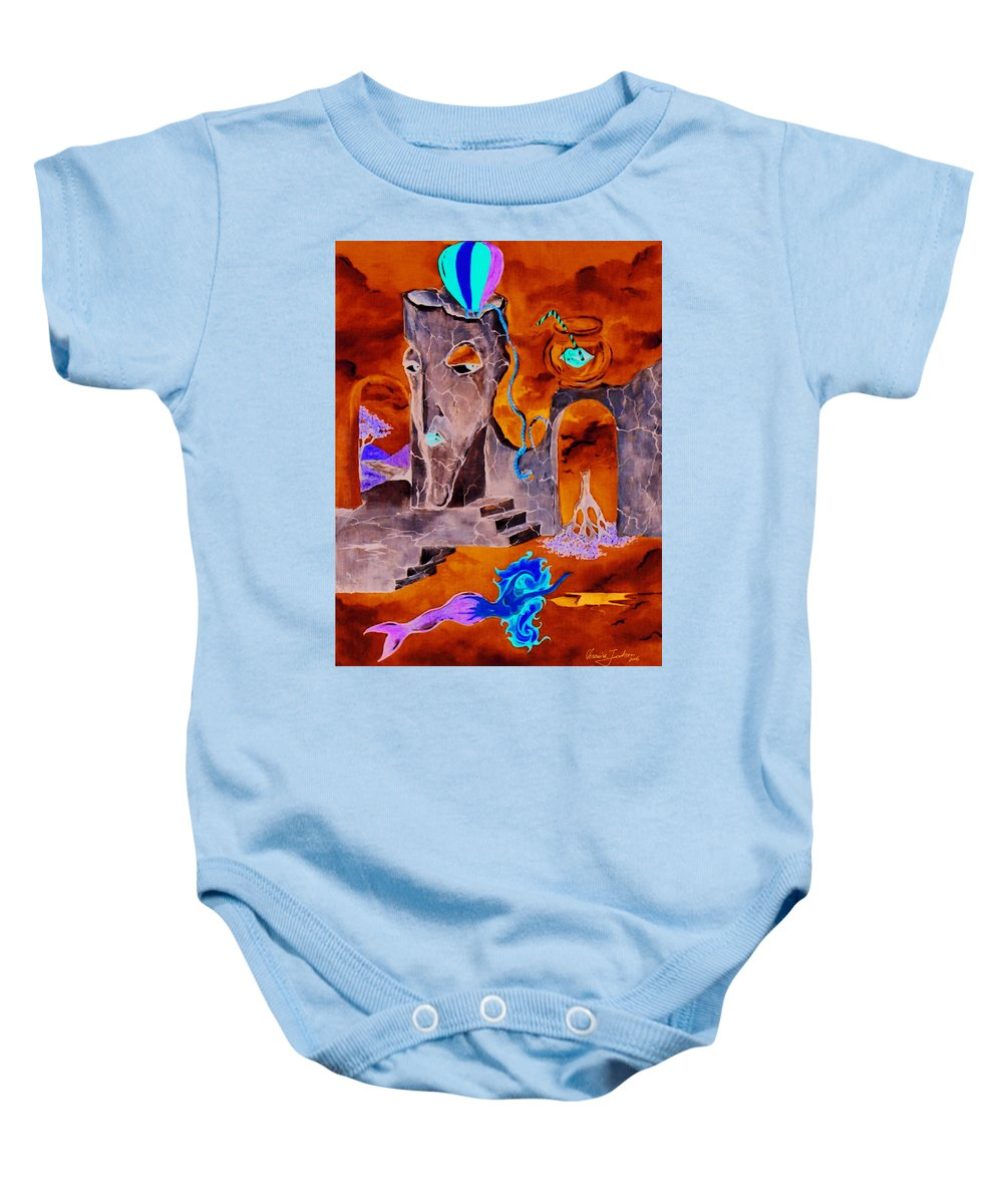 Surreal Sky Mermaids Trees Stairs Heaven Baby Onesie featuring the painting A Few Seconds In My Head by Veronica Jackson