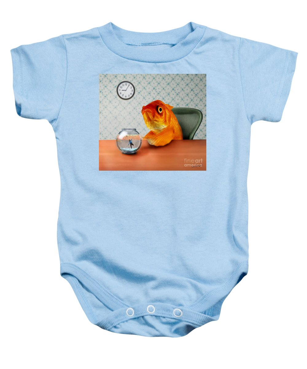 A Fish Out Of Water Baby Onesie featuring the mixed media A Fish Out Of Water by Carrie Jackson