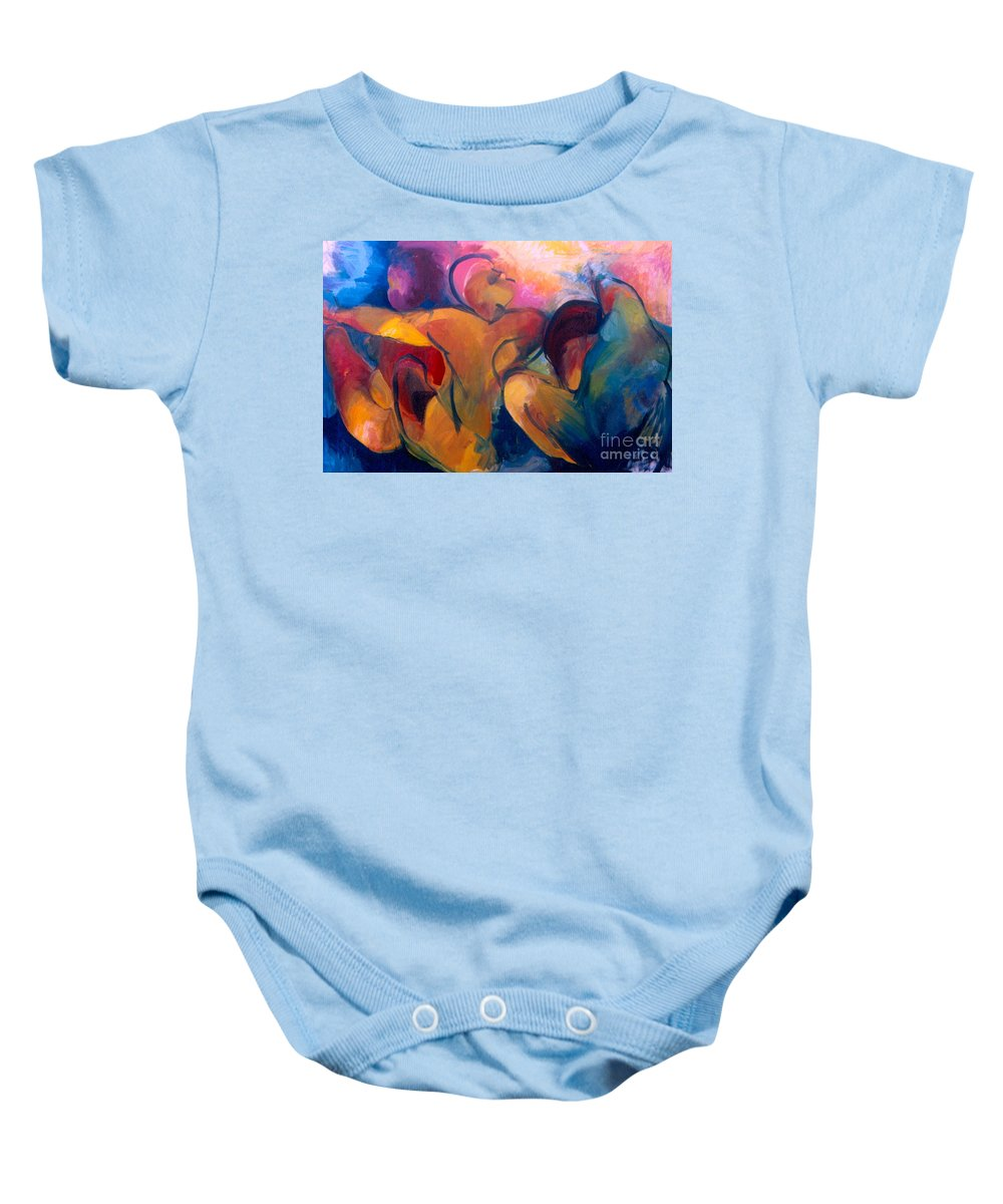 Oil Painting Baby Onesie featuring the painting A Passion To Be Raised by Daun Soden-Greene