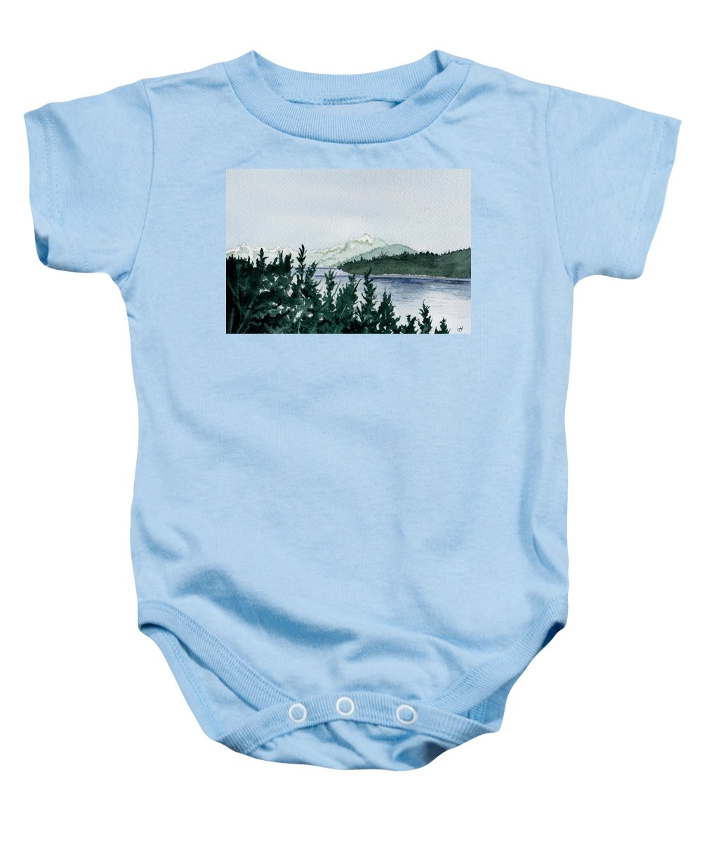 Landscape Baby Onesie featuring the painting A Peaceful Place by Brenda Owen