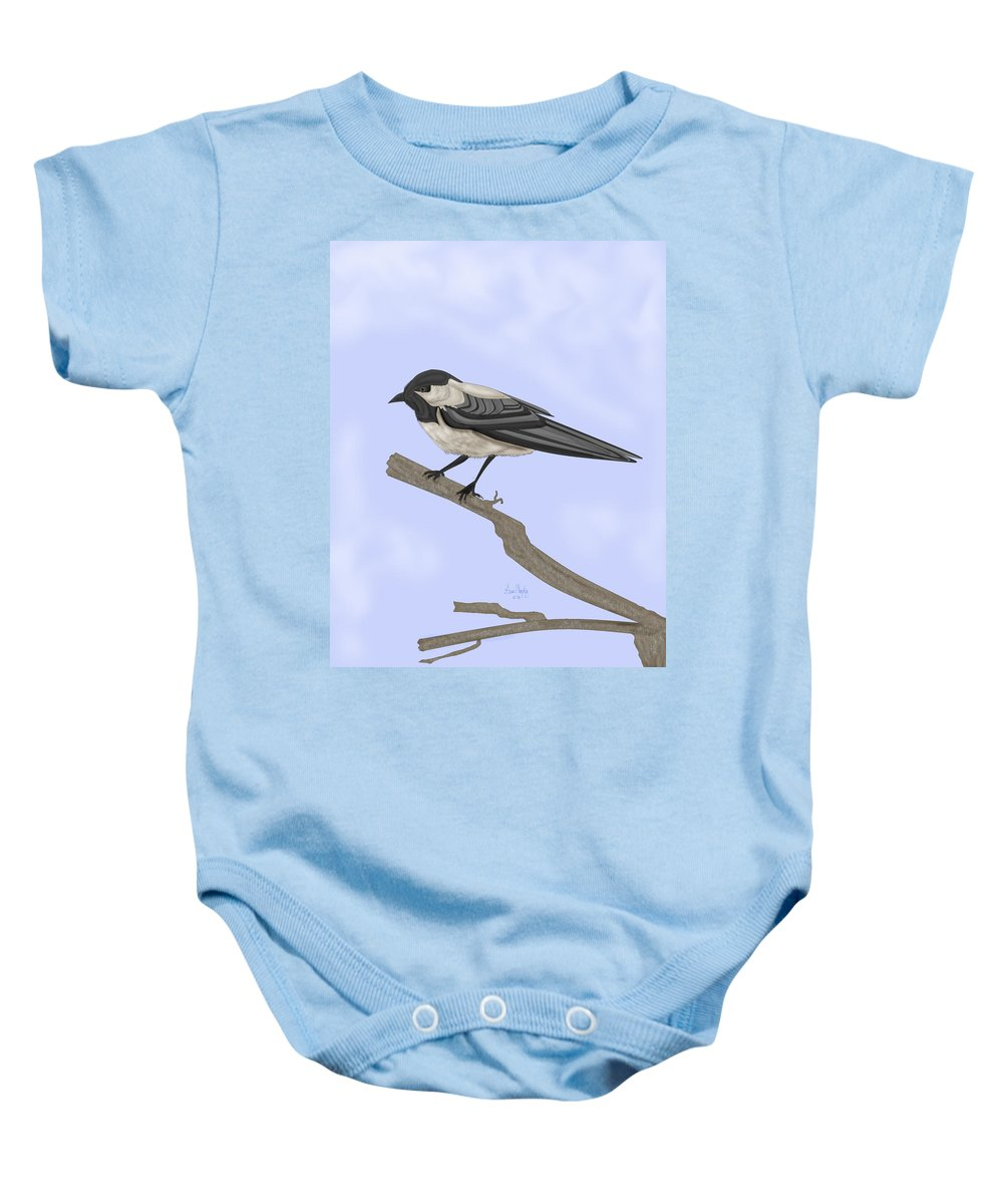 Bird Baby Onesie featuring the painting A Small Guest by Anne Norskog