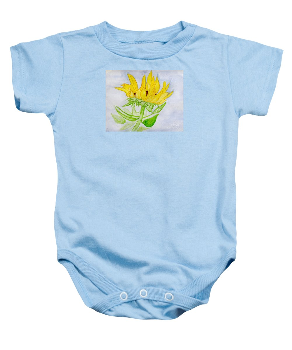 Sunflower Baby Onesie featuring the painting A Sunflower Blessing by Anne Gitto