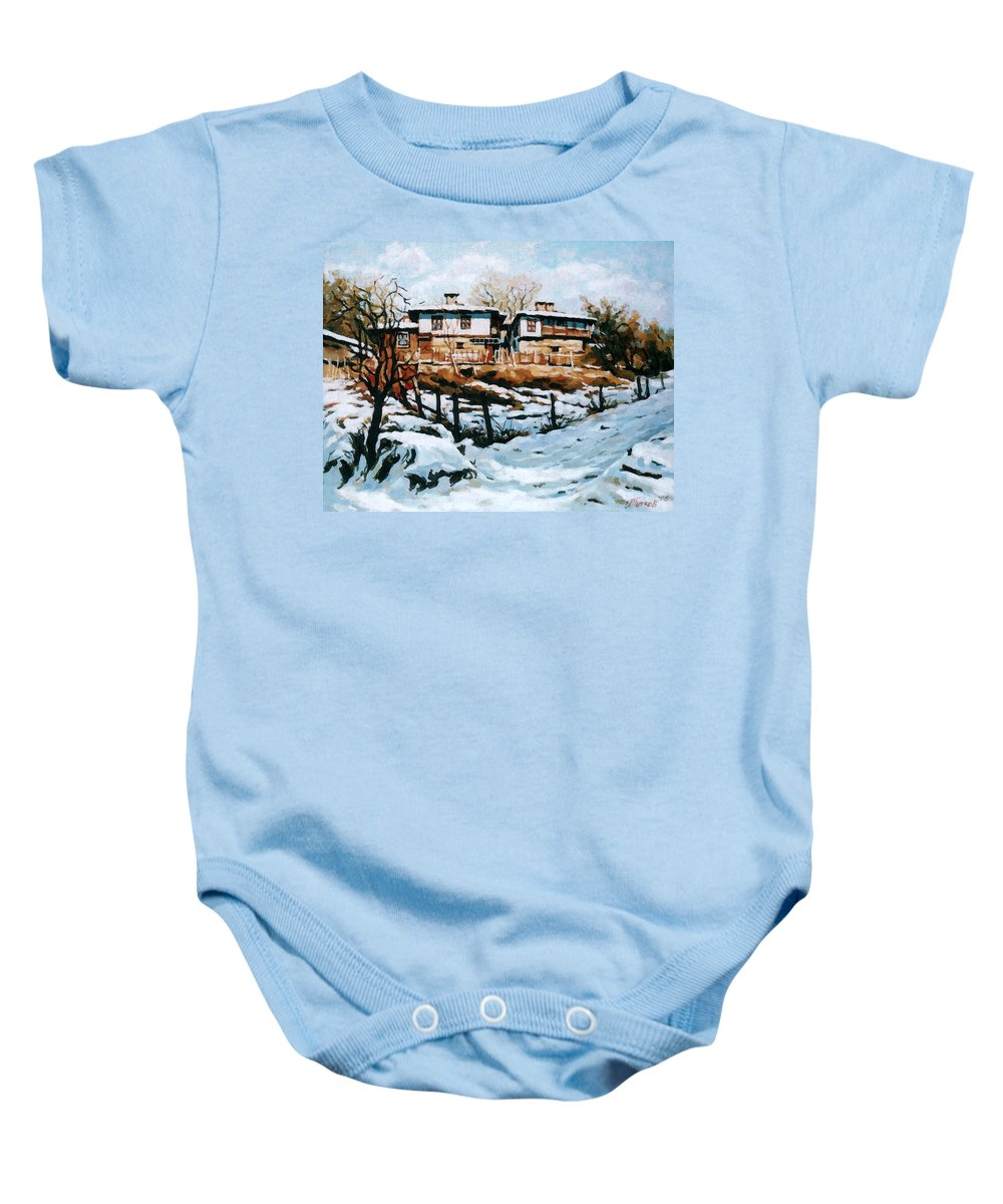 Landscape Baby Onesie featuring the painting A Village In Winter by Iliyan Bozhanov