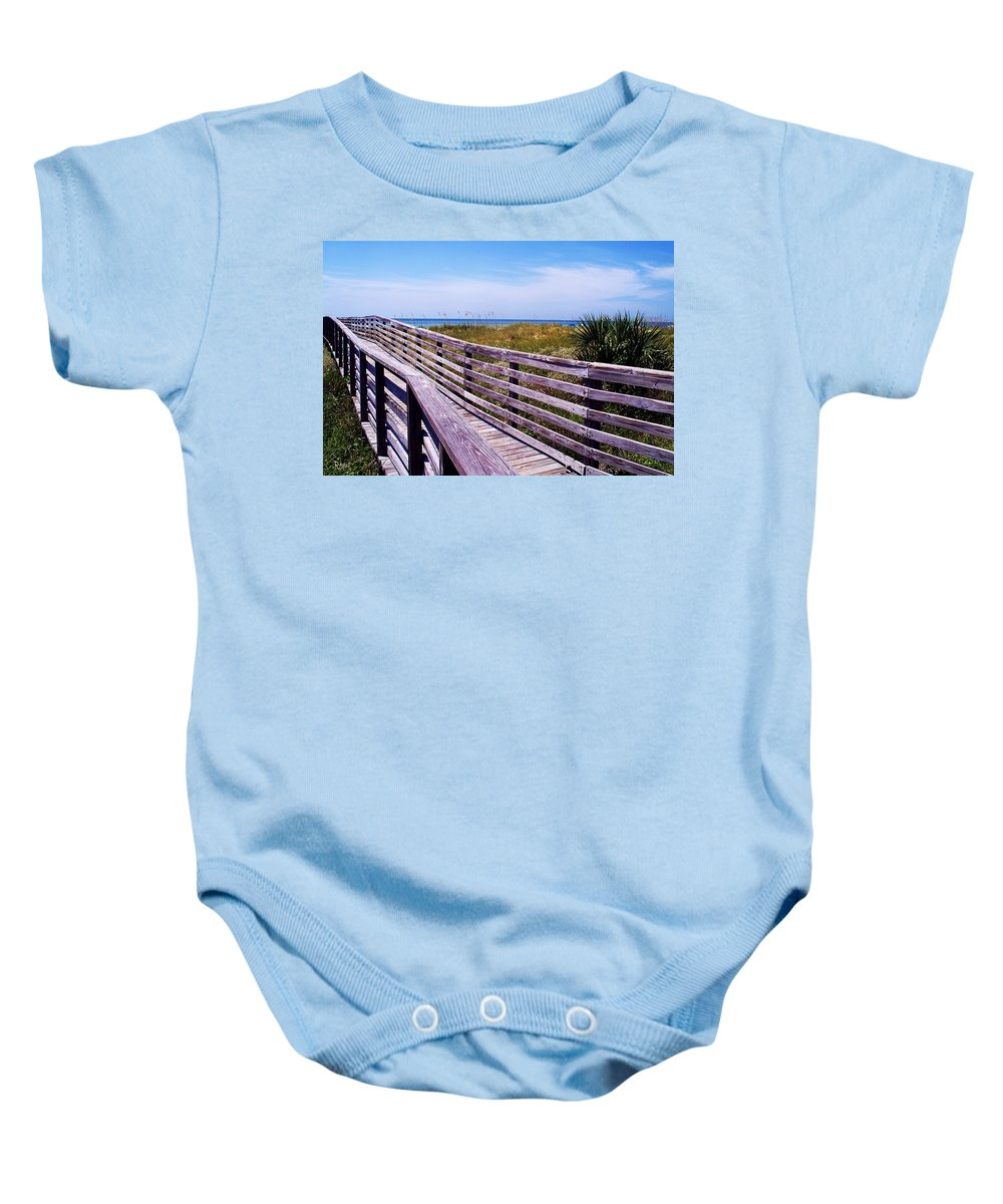 Beach Baby Onesie featuring the photograph A Walk To The Beach by Robin Monroe