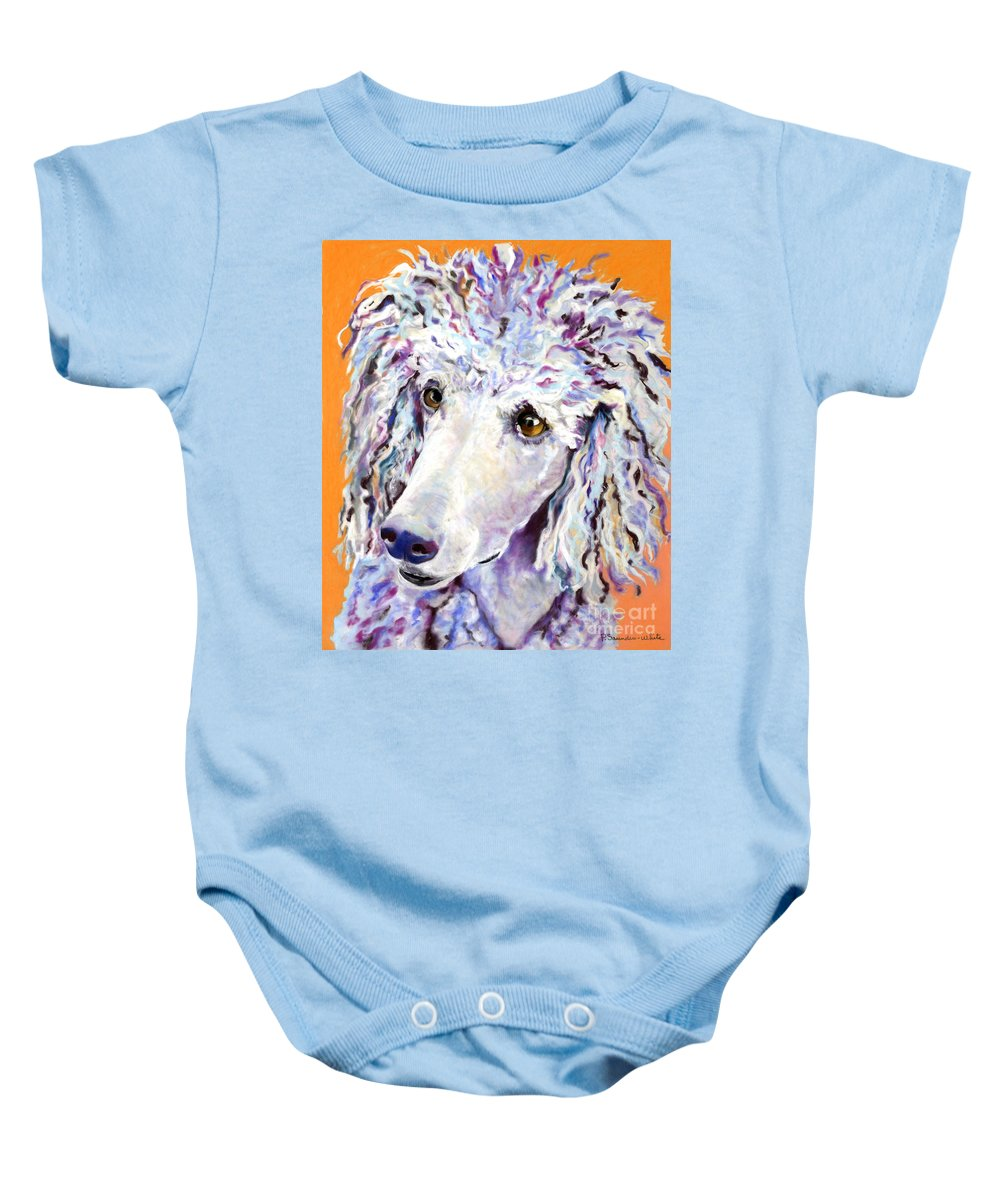 Standard Poodle Baby Onesie featuring the pastel Above The Standard  by Pat Saunders-White