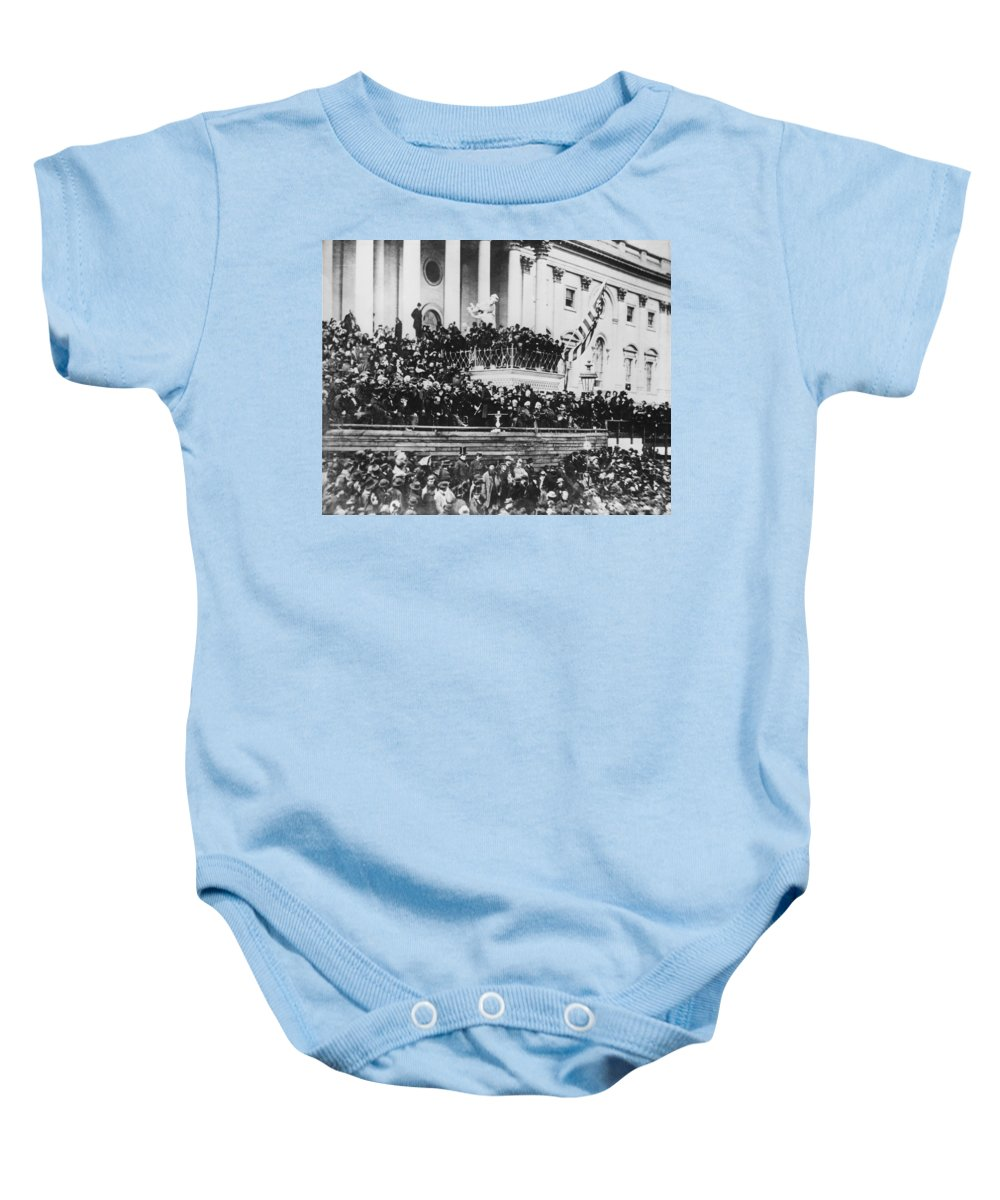 second Inaugural Address Baby Onesie featuring the photograph Abraham Lincoln Gives His Second Inaugural Address - March 4 1865 by International Images