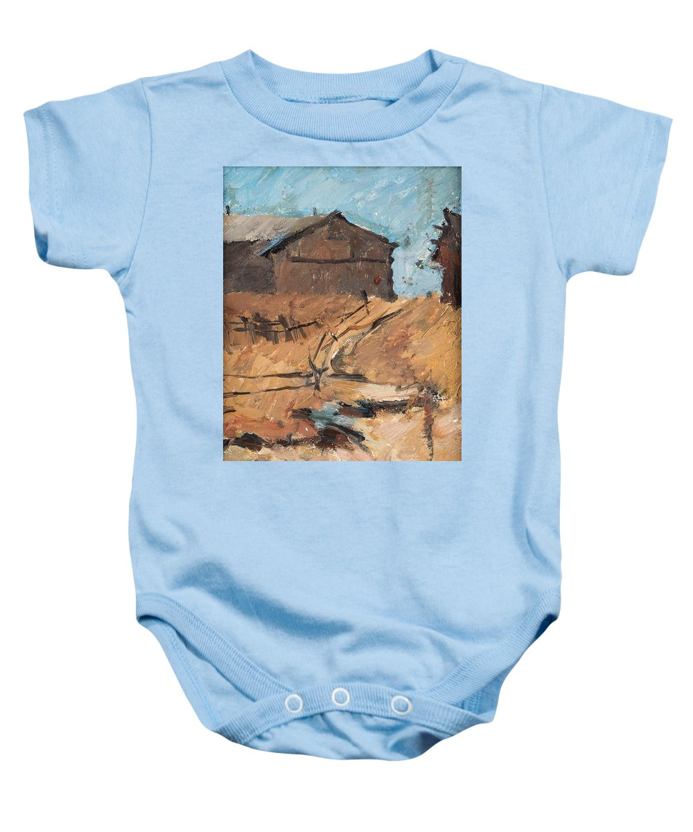 Nature Baby Onesie featuring the painting Abram Yefimovich Arkhipov Russian 1862-1930 Country Road After The Rain by Abram Yefimovich Arkhipov
