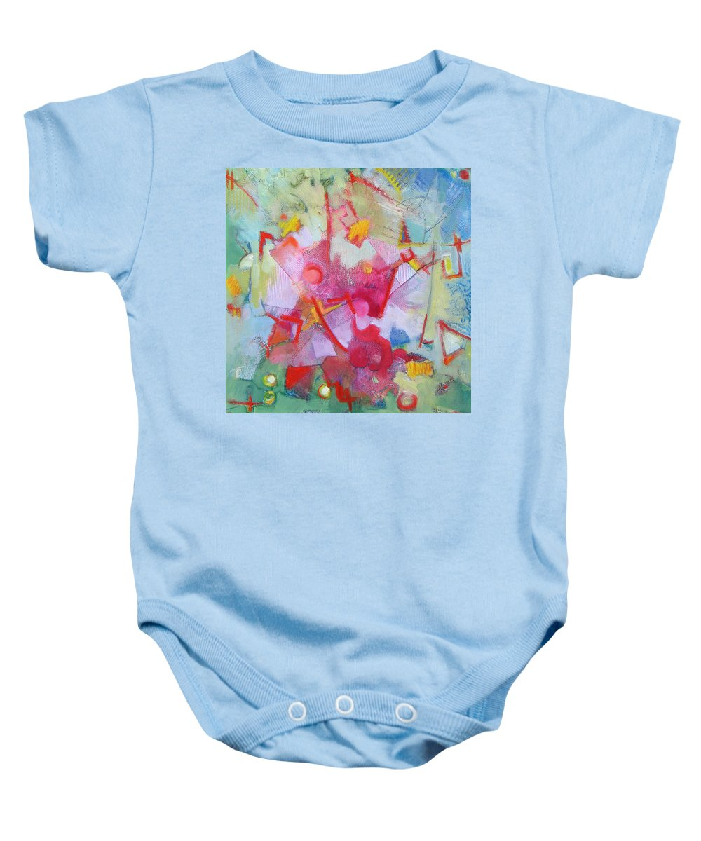 Abstract Baby Onesie featuring the painting Abstract 2 With Inscribed Red by Susanne Clark