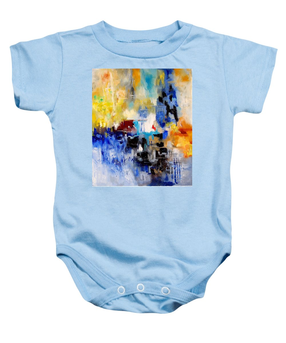 Abstract Baby Onesie featuring the painting Abstract 905003 by Pol Ledent
