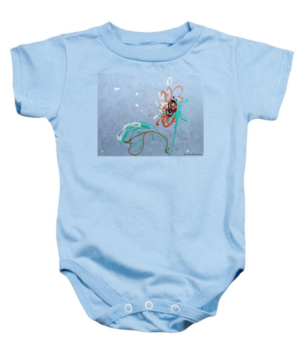 Abstract Baby Onesie featuring the painting Abstract Flower by Gina De Gorna