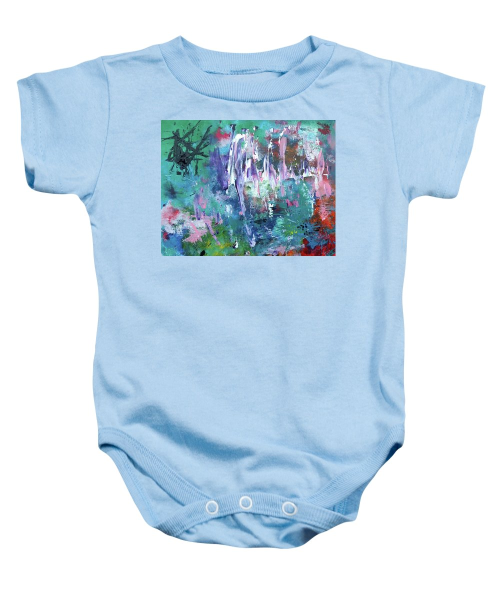 Abstract Painting Baby Onesie featuring the painting Abstract Greens by Liza Anzen