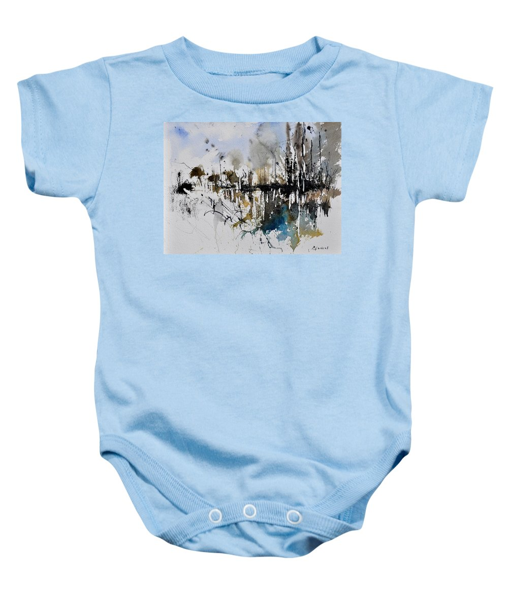 Abstract Baby Onesie featuring the painting Abstract Watercolor 012130 by Pol Ledent