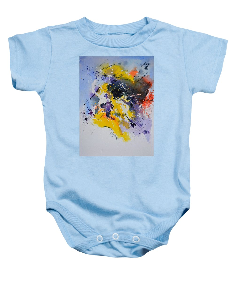 Abstract Baby Onesie featuring the painting Abstract Watercolor 70075 by Pol Ledent