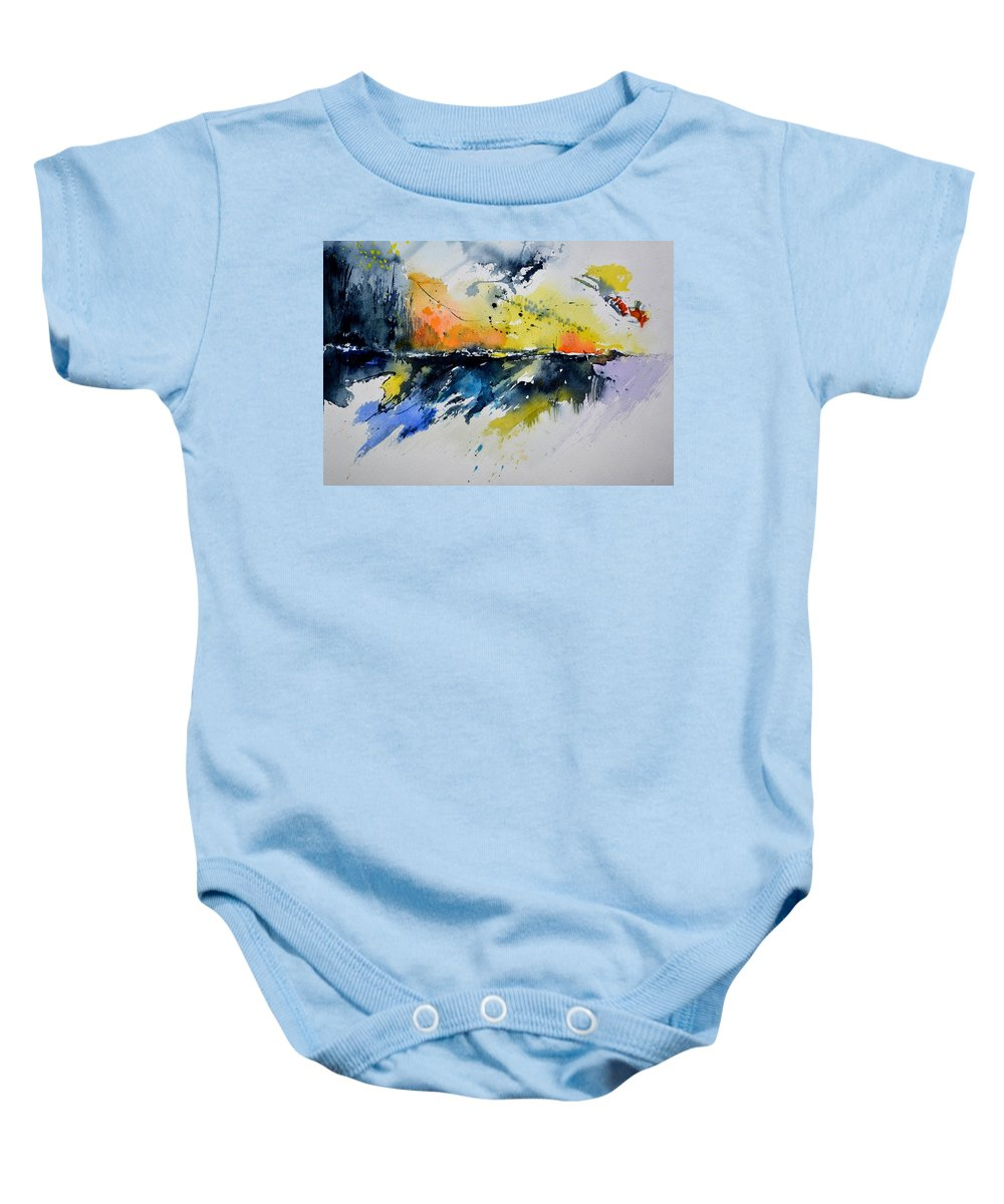 Abstract Baby Onesie featuring the painting Abstract Watercolor 7007555 by Pol Ledent