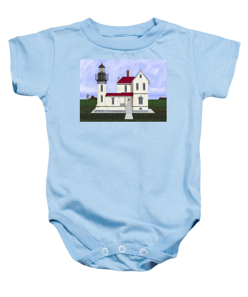 Admiralty Head Baby Onesie featuring the painting Admiralty Head Light Station Circa 1920 by Anne Norskog