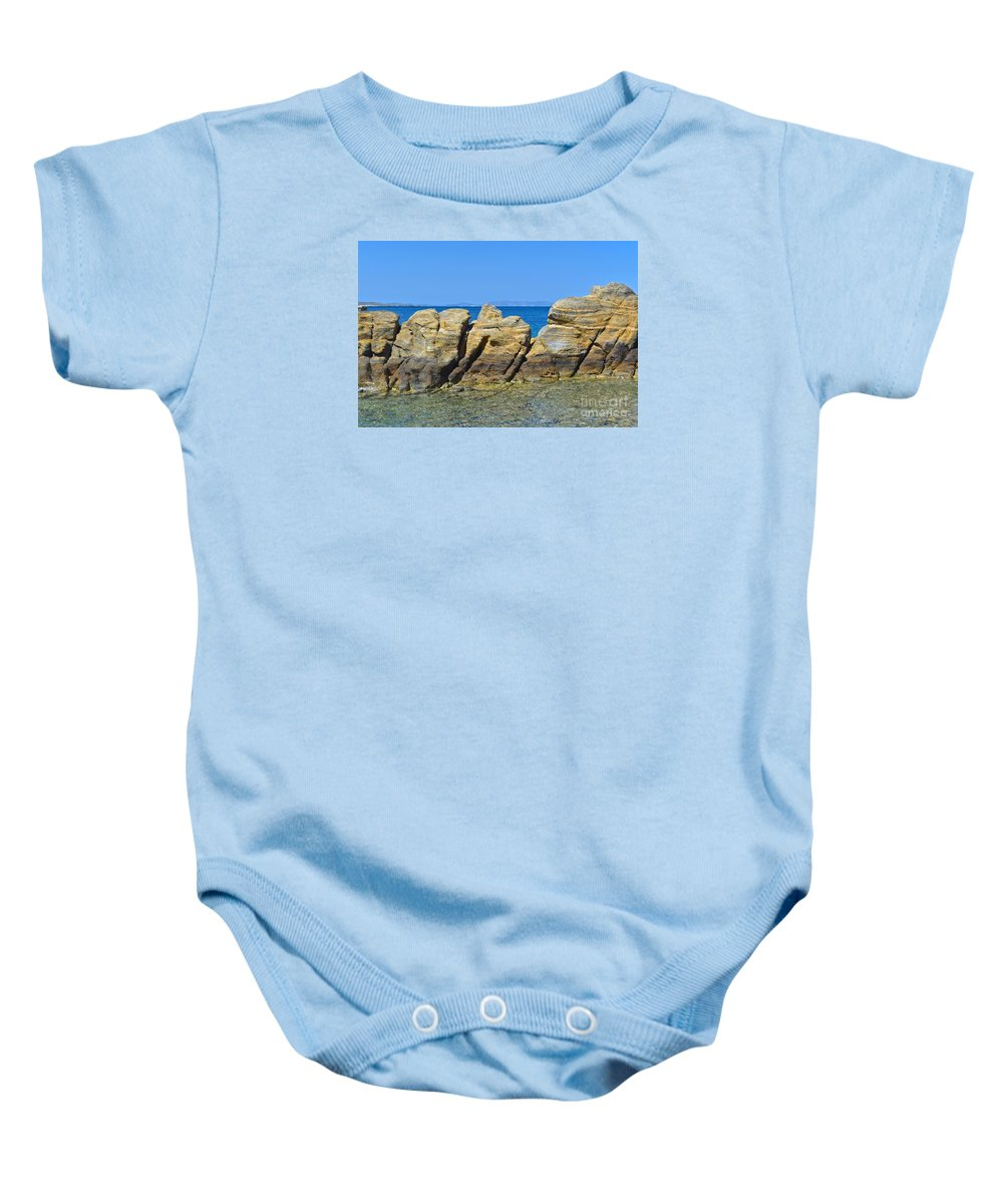 Stone Baby Onesie featuring the photograph Aegean Rocks by Eric Reger