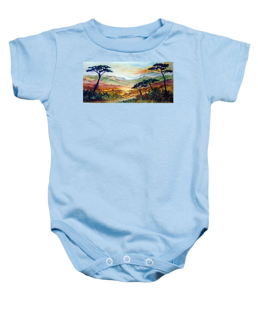 Africa Baby Onesie featuring the painting Africa by Joanne Smoley