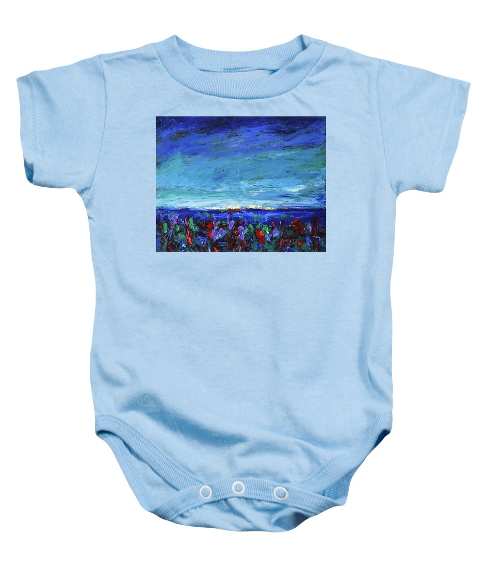 Palette Knife Baby Onesie featuring the painting After The Storm by Shannon Grissom