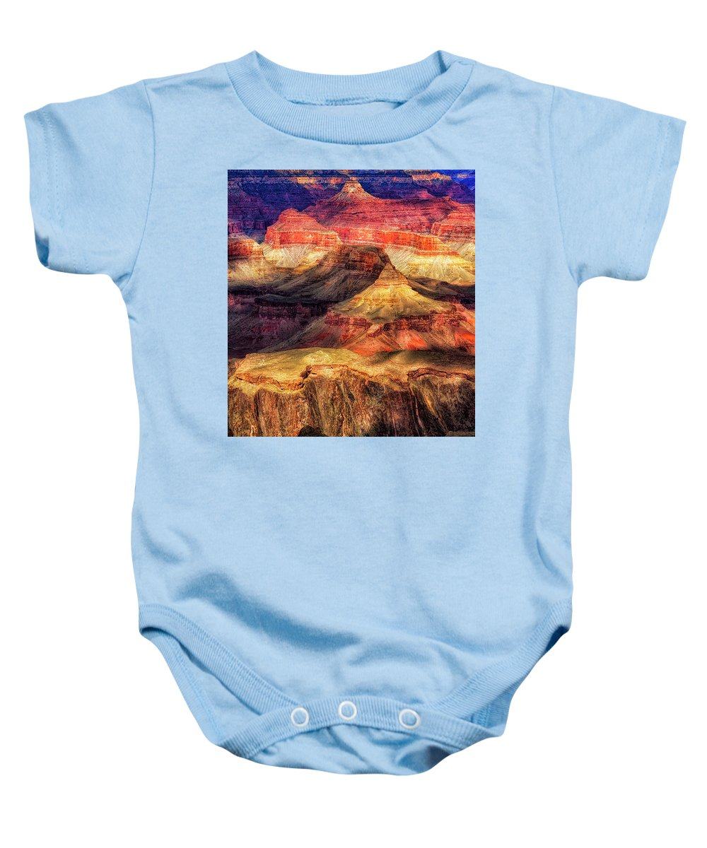 Arizona Baby Onesie featuring the digital art Afternoon Light At Mather Point, Grand Canyon by Leslie Ware