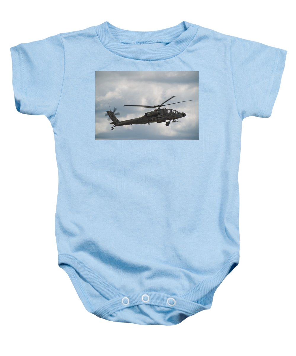 Helicopter Baby Onesie featuring the photograph Ah-64 Apache by Sebastian Musial