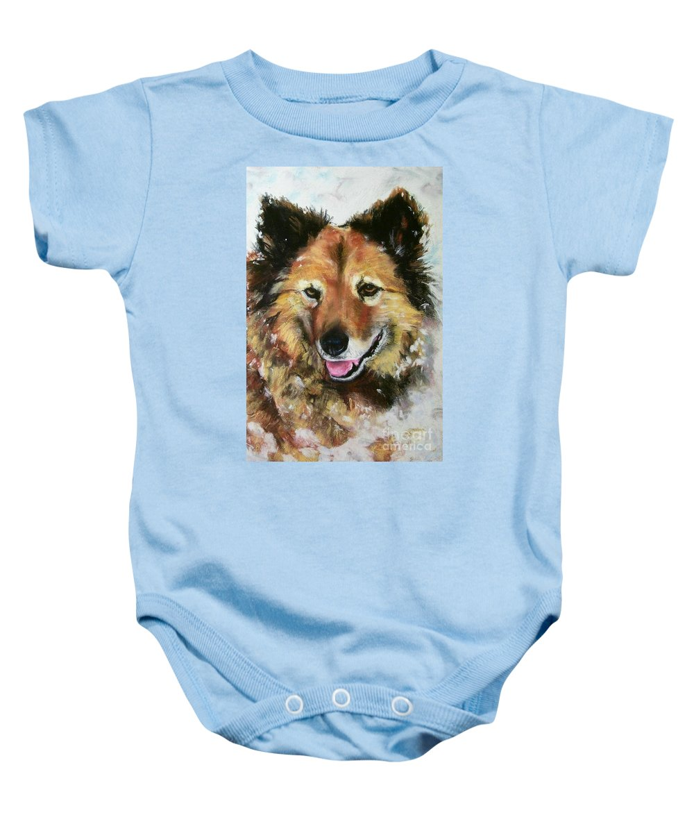 Dog Baby Onesie featuring the painting Akia by Frances Marino