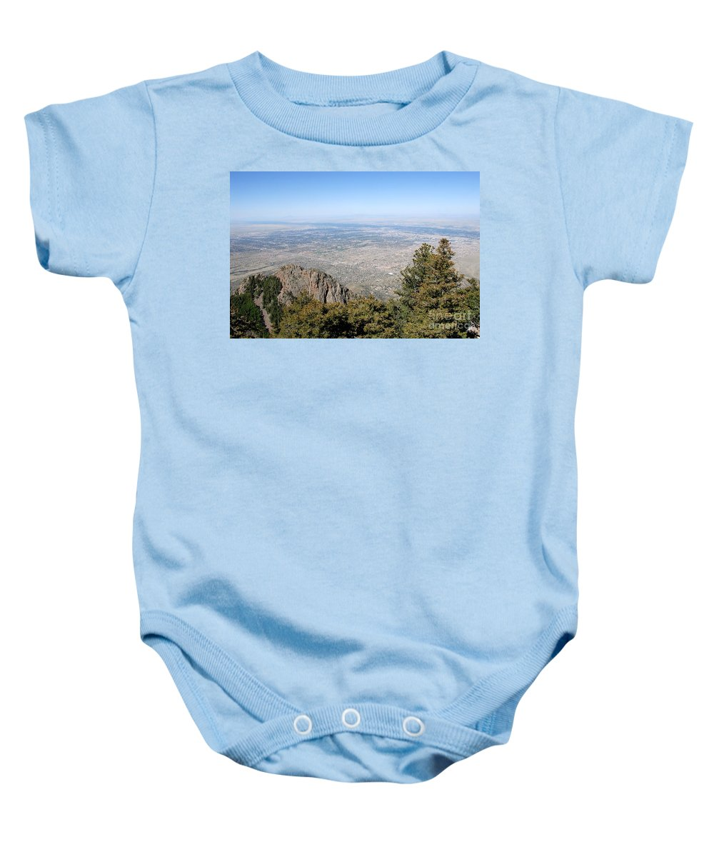 Albuquerque Baby Onesie featuring the photograph Albuquerque And The Rio Grande by David Lee Thompson