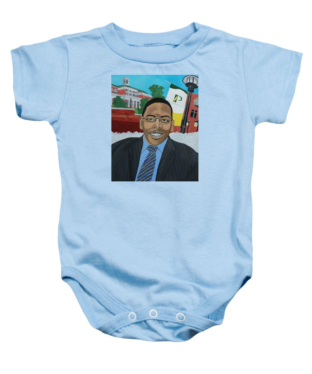 Black Baby Onesie featuring the painting Alex by Angelo Thomas