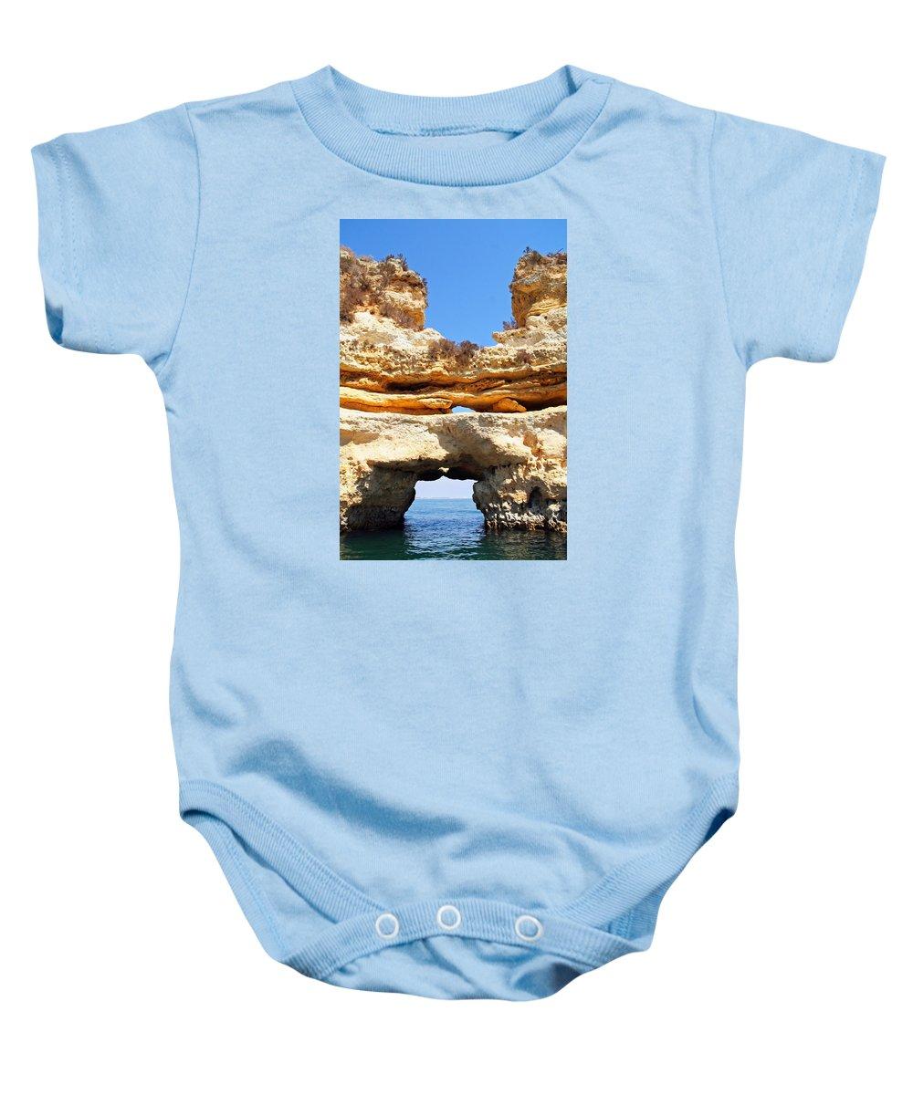 Algarve Baby Onesie featuring the photograph Algarve Rock Tunnel by Alex Antoine