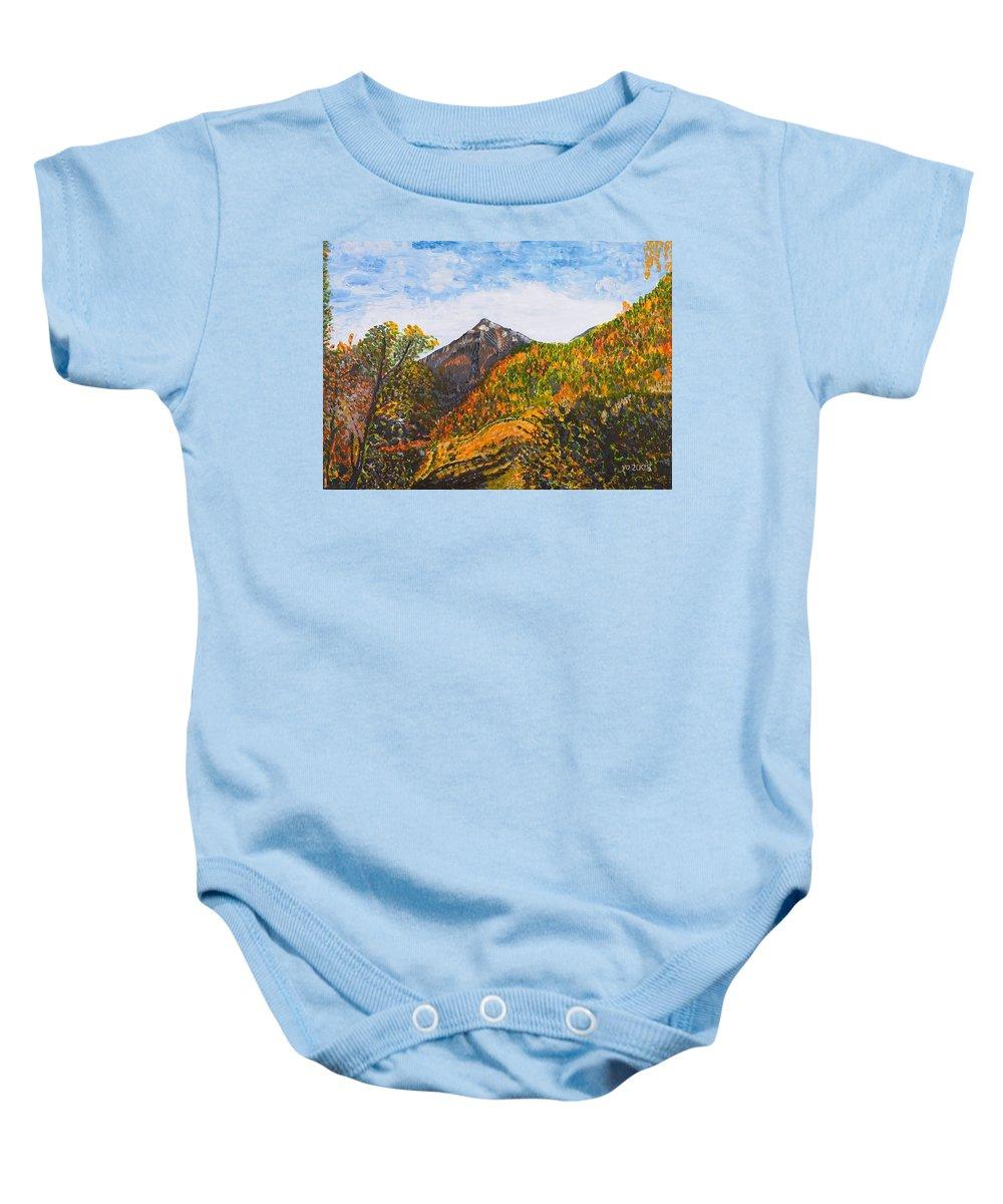 Landscape Baby Onesie featuring the painting Algund View by Valerie Ornstein