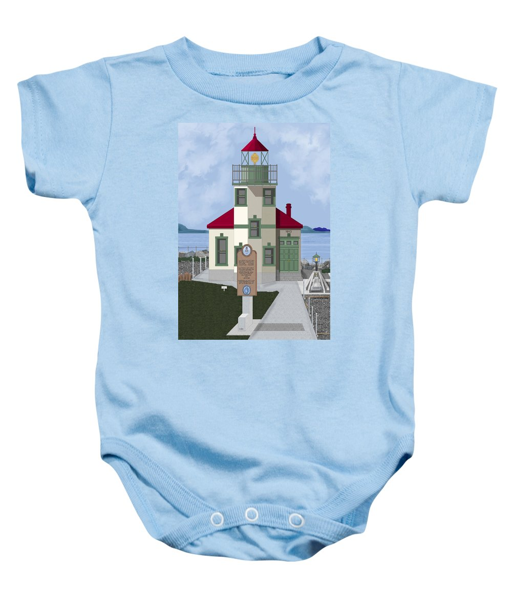 Lighthouse Baby Onesie featuring the painting Alki Point on Elliott Bay by Anne Norskog