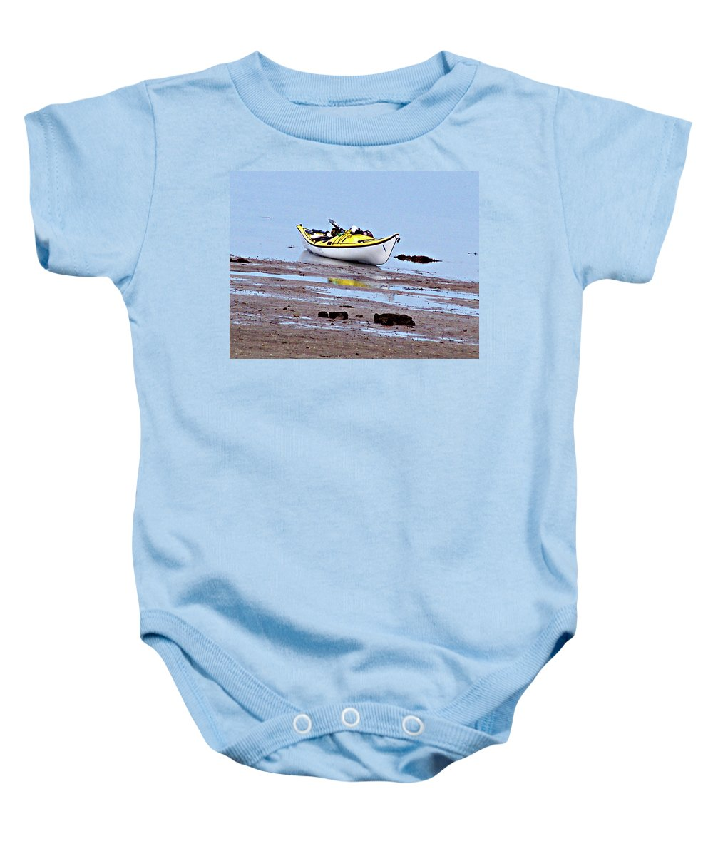 Kayak Baby Onesie featuring the photograph All Alone by Marilyn Holkham