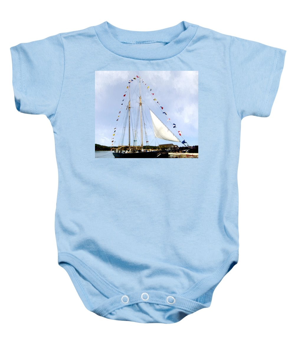 Landscape Baby Onesie featuring the painting All Flags Flying by RC DeWinter