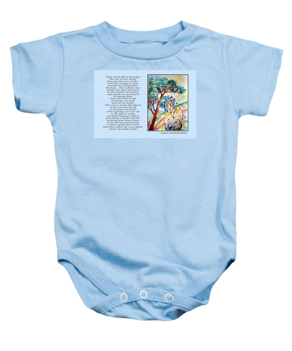 Poetry Baby Onesie featuring the mixed media All That I Need - Poetry In Art by Robin Monroe